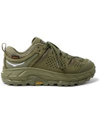 Hoka One One Engineered Garments Tor Rubber-trimmed Leather And Nylon Trainers - Green