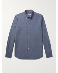 Canali Slim-fit Button-down Collar Cotton-chambray Shirt - Blue