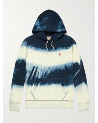 Polo Ralph Lauren Logo-embroidered Tie-dyed Cotton-blend Jersey Hoodie - Blue