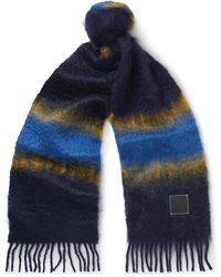 Loewe - Fringed Leather-trimmed Dégradé Mohair And Wool-blend Scarf - Lyst