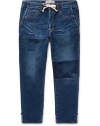 Remi Relief Slim-fit Tapered Cropped Patchwork Denim Drawstring Jeans - Blue