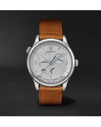 Jaeger-lecoultre Master Control Geographic Automatic 40mm Stainless Steel And Leather Watch - Metallic