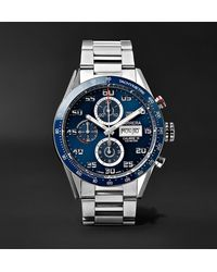 Tag Heuer Carrera Automatic Chronograph 43mm Polished-steel Watch, Ref. No. Cv2a1v.ba0738 - Blue