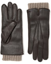 Loro Piana Baby Cashmere-lined Leather Gloves - Brown