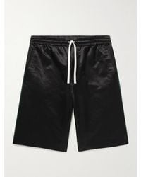 Gucci Wide-leg Webbing-trimmed Cotton-blend Satin Drawstring Shorts - Black