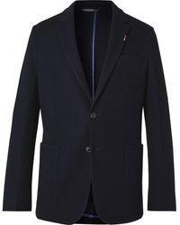 Paul Smith Slim-fit Unstructured Striped Embroidered Wool-hopsack Blazer - Blue