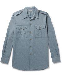 Massimo Alba Army Convertible-collar Cotton-chambray Shirt - Blue