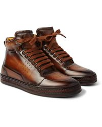 Berluti - Playtime Burnished-leather High-top Sneakers - Lyst