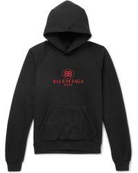 Balenciaga - Logo-print Cotton-blend Jersey Hoodie - Lyst