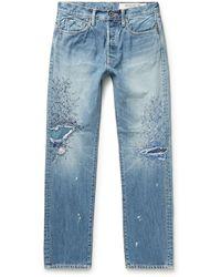 Kapital Monkey Cisco Straight-leg Distressed Embroidered Jeans - Blue