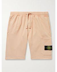Stone Island Logo-appliquéd Cotton-jersey Drawstring Shorts - Pink