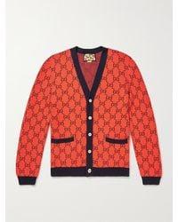 Gucci Slim-fit Logo-jacquard Wool And Cotton-blend Cardigan - Orange