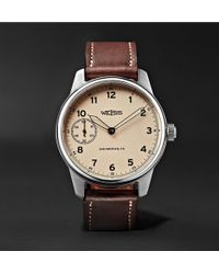 Weiss | Special Issue 42mm Stainless Steel And Leather Field Watch | Lyst