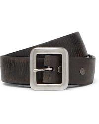RRL 3.5cm New Burlington Tumbled-leather Belt - Black