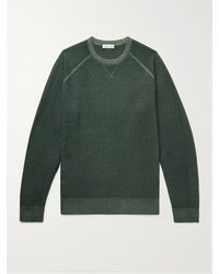Peter Millar Mountainside Garment-dyed Waffle-knit Merino Wool Jumper - Green