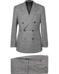 Kingsman Gray Slim-fit Double-breasted Prince Of Wales Checked Suit