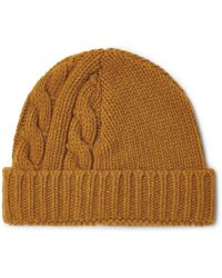b6d31e17f Oliver Spencer Mustard Cable Knit Woolblend Beanie Hat in Yellow for ...