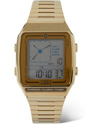 Timex Q Reissue Lca 32.5mm Gold-tone Digital Watch - Metallic