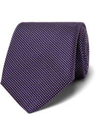 BOSS 7.5cm Pin-dot Silk Tie - Purple