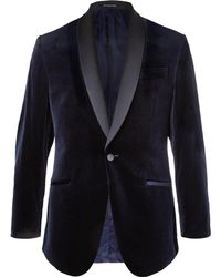 Richard James - Midnight-blue Hyde Slim-fit Satin-trimmed Cotton-velvet Tuxedo Jacket - Lyst