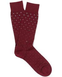 Ermenegildo Zegna - Polka-dot Mercerised Stretch Cotton-blend Socks - Lyst