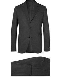Ermenegildo Zegna Grey Slim-fit Brushed Cashmere And Cotton-blend Suit - Black