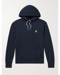 Maison Kitsuné Slim-fit Logo-appliquéd Cotton-jersey Hoodie - Blue