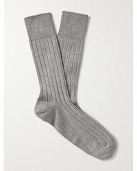 John Smedley Delta Ribbed Sea Island Cotton-blend Socks - Grey