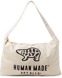 Human Made Logo-print Cotton-canvas Tote Bag - White