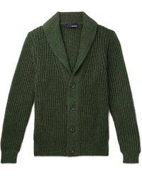 Lardini Slim-fit Shawl-collar Knitted Cardigan - Green