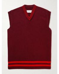Maison Margiela Striped Wool Jumper Vest - Red
