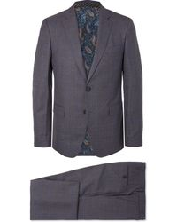 Etro - Blue Slim-fit Prince Of Wales Checked Wool Suit - Lyst