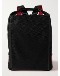 Christian Louboutin Leather-trimmed Logo-jacquard Coated-canvas And Mesh Backpack - Black