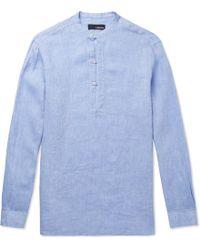 Lardini - Henry Grandad-collar Slub Linen Shirt - Lyst