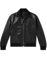 The Row Liam Leather Bomber Jacket - Black