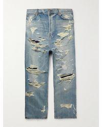 Balenciaga Wide-leg Distressed Jeans - Blue