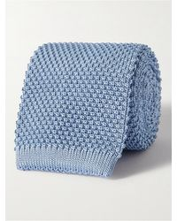 Anderson & Sheppard 7cm Knitted Silk Tie - Blue