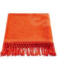 Loewe Paula's Ibiza Tasselled Logo-print Cotton Beach Towel - Orange