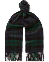 Kingsman - + Johnstons Of Elgin Fringed Logo-embroidered Checked Cashmere Scarf - Lyst