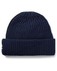 NN07 Ribbed Wool-blend Beanie - Blue