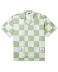 Saturdays NYC Canty Peace Camp-collar Checked Cotton-poplin Shirt - Green