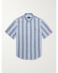 Club Monaco Striped Linen-blend Shirt - Blue