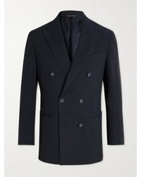 Thom Sweeney Unstructured Double-breasted Linen Blazer - Blue