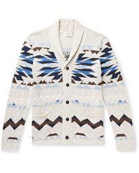 Altea Shawl-collar Intarsia Cotton-blend Cardigan - Blue