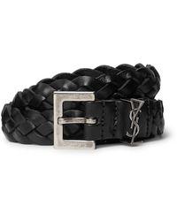 Saint Laurent 2cm Black Woven Leather Belt