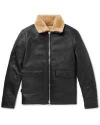 Officine Generale Clyde Shearling-lined Leather Aviator Jacket - Black