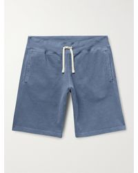 Beams Plus Pigment-dyed Loopback Cotton-jersey Drawstring Shorts - Blue