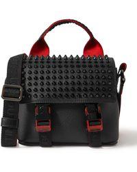 Christian Louboutin Loubiclic Mini Spiked Full-grain Leather Messenger Bag - Black