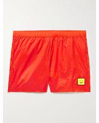 Acne Studios Slim-fit Mid-length Logo-appliquéd Swim Shorts - Orange