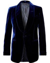 Tom Ford - Navy Shelton Slim-fit Velvet Tuxedo Jacket - Lyst